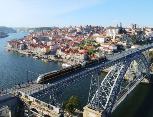 Porto panorama on the bridge