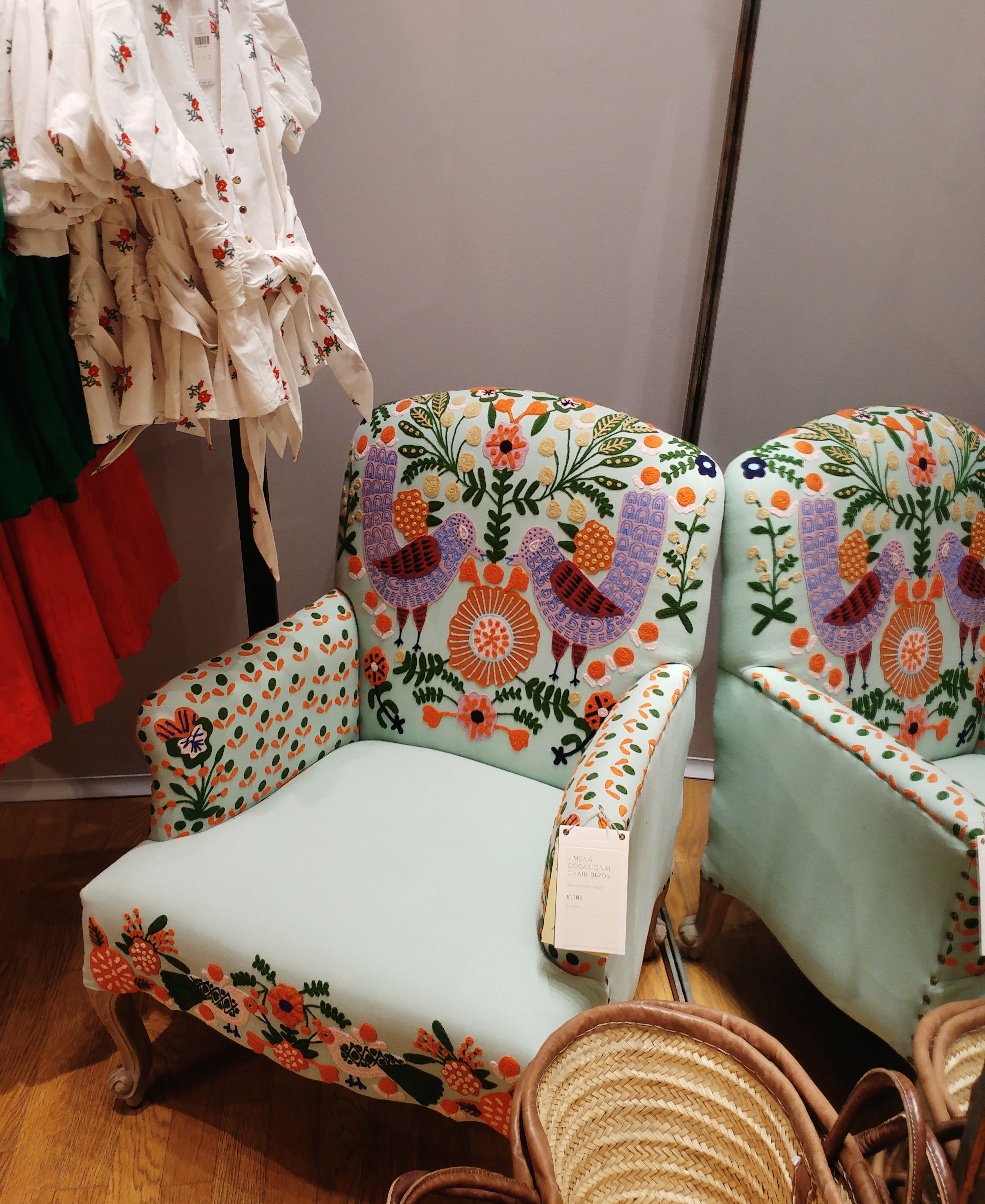 Anthropologie shop in Barcelona - embroidered bohemian arm-chair