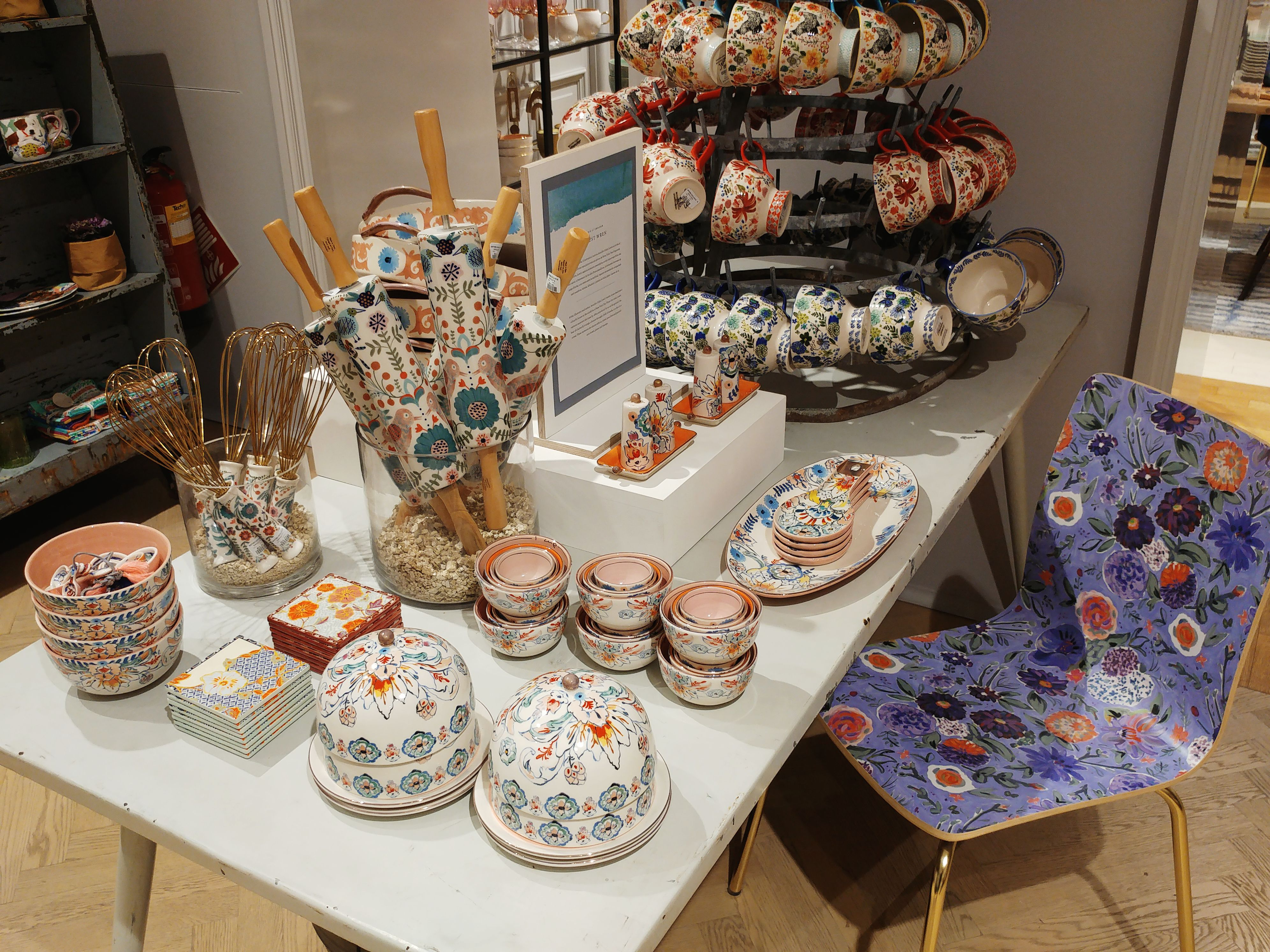 Anthropologie shop in Barcelona - eclectic dishware and utensils