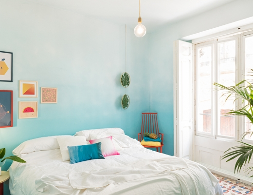 Valencia Lounge Hostel designed by Masquespacio: Blue ombre wall