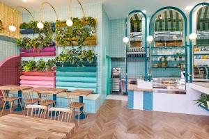 Masquespacio interior design for Piada cafe in Lyon, France