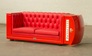 Old telephone booth turned into sofa