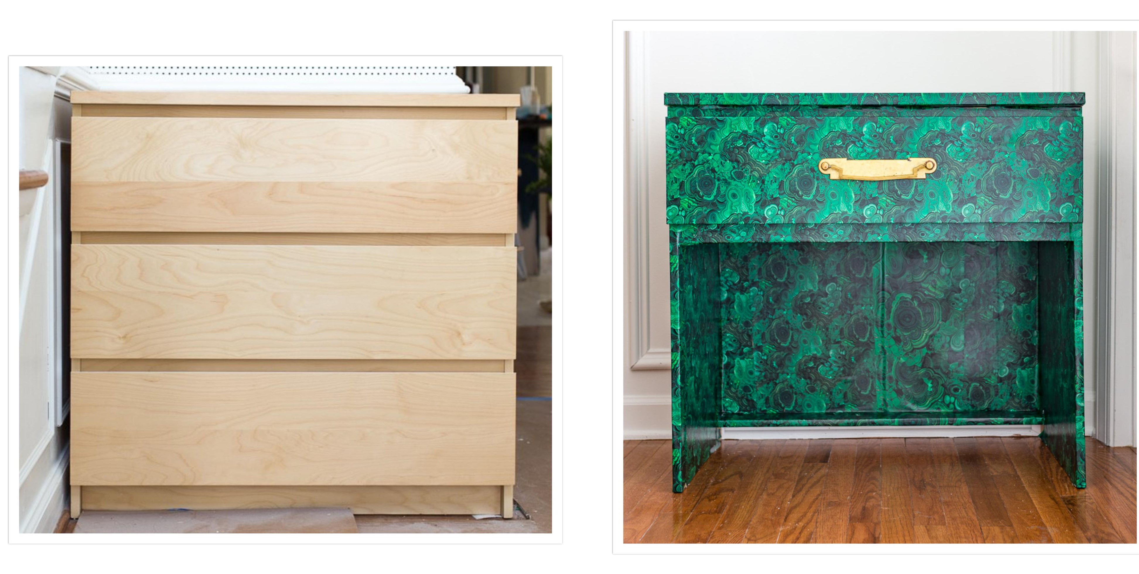 IKEA dresser becomes a malachite console table