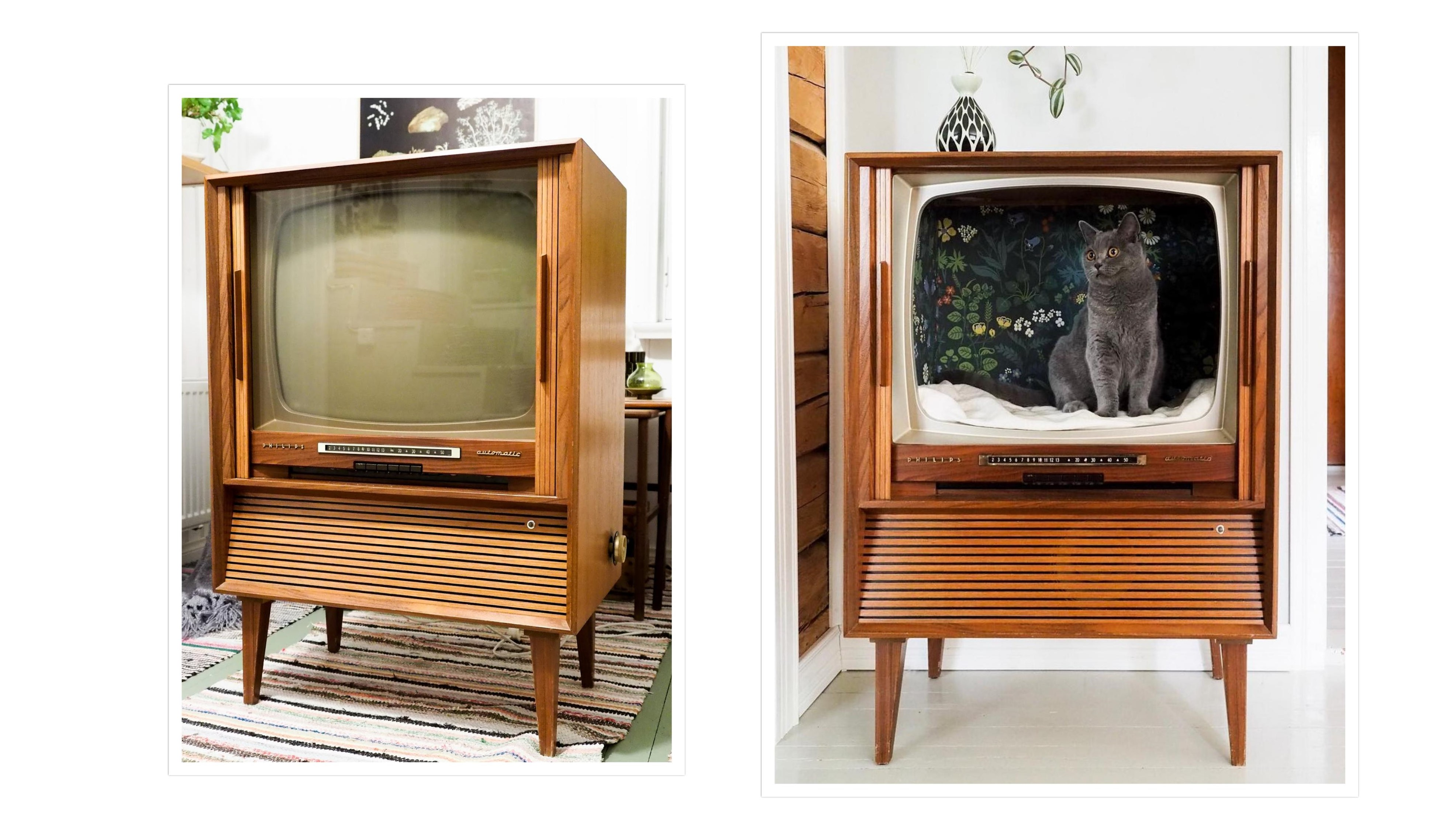 Old Philips TV cabinet repurposed into cat house