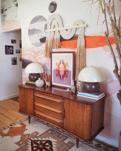 @candycoloredhome credenza styling
