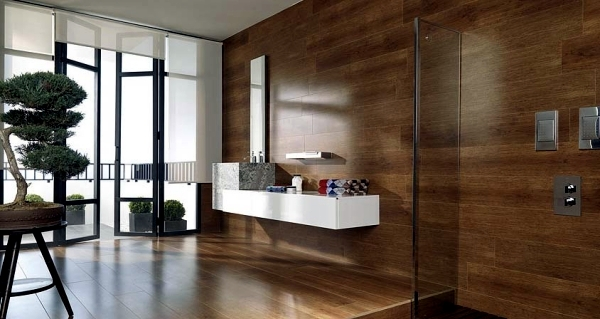 Ceramic tiles in wood by Porcelanosa