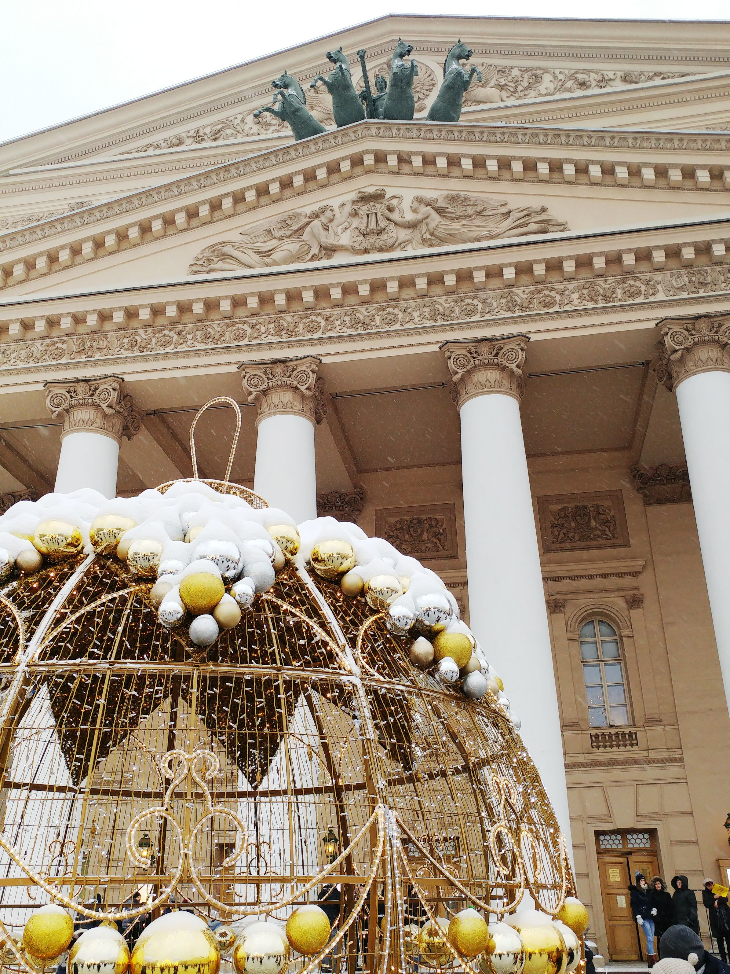Bolshoi theatre in Moscow with Christmas decorations