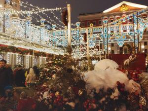 Christmas lights on Tverskaya square, Moscow