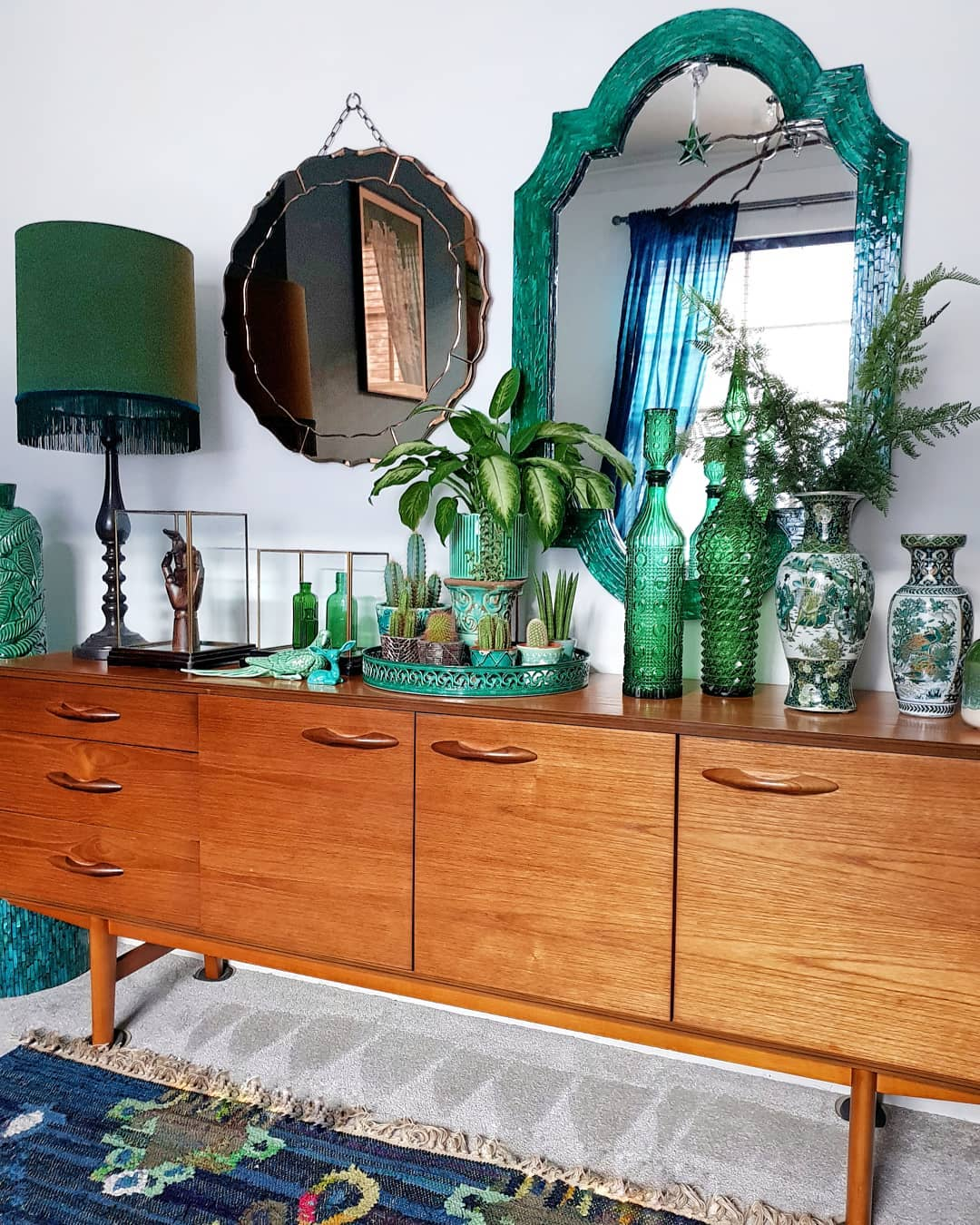 @lorriecos mid-century credenza with green decor
