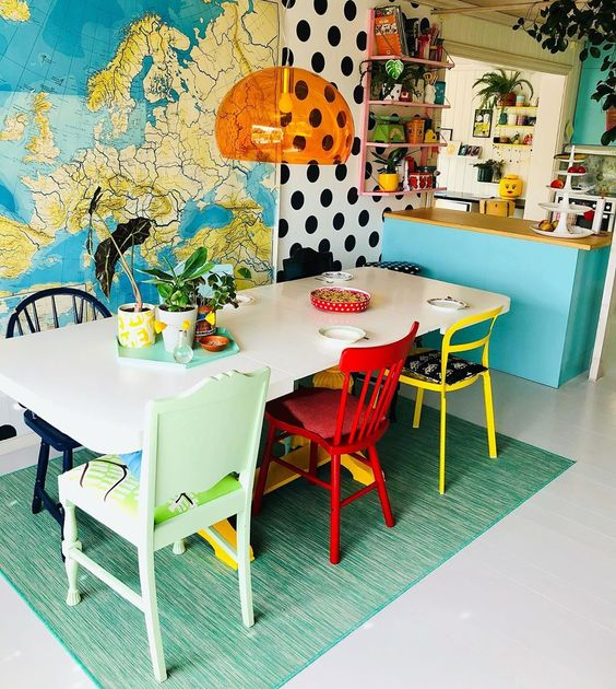 @polkadotingrid bohemian retro house in Norway - eclectic dining room
