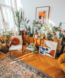 @restyleart Jan Skacelik's bohemian home packed with rugs, plants and his graphic works