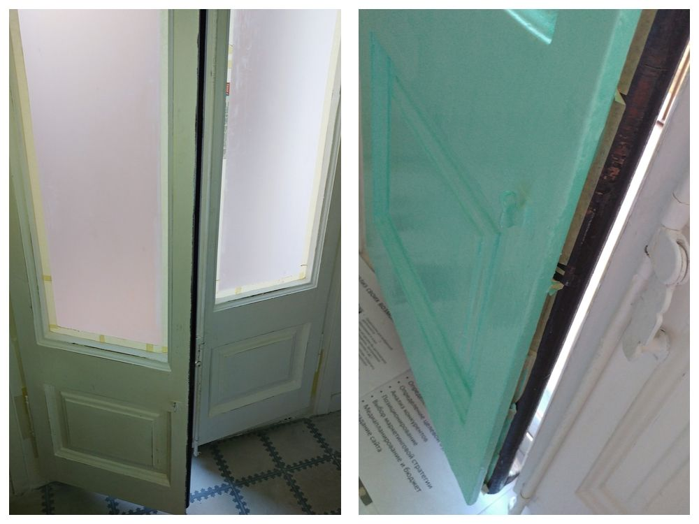 How to paint balcony doors - tutorial collage