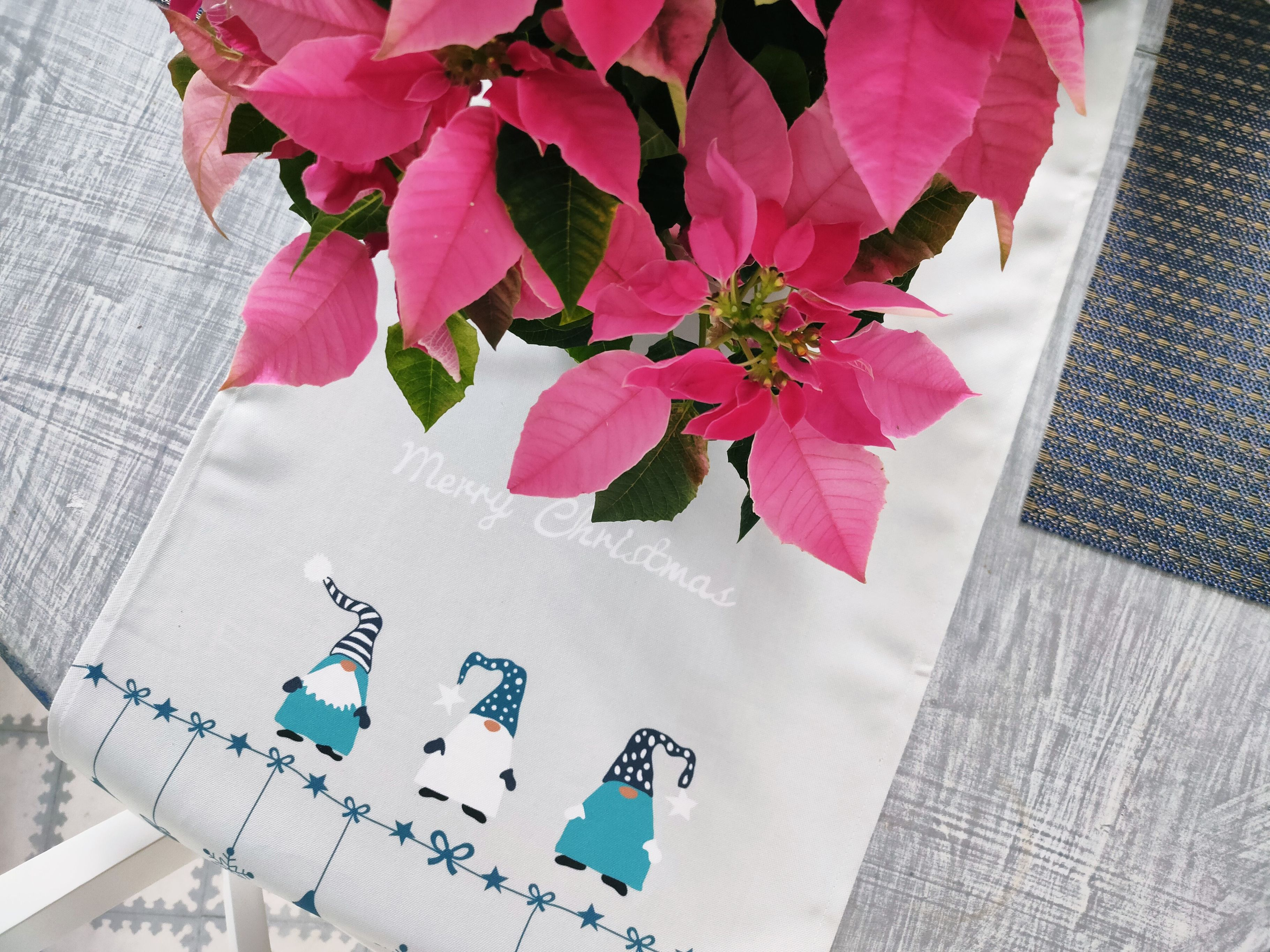 Christmas table runner with poinsettia
