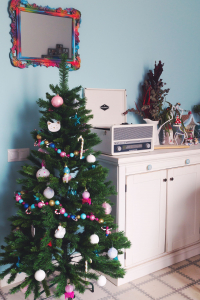 My Christmas tree 2019 in my colourful Barcelona living room
