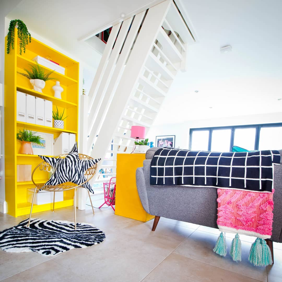 Bright yellow bookcase