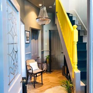 Yellow stair railings