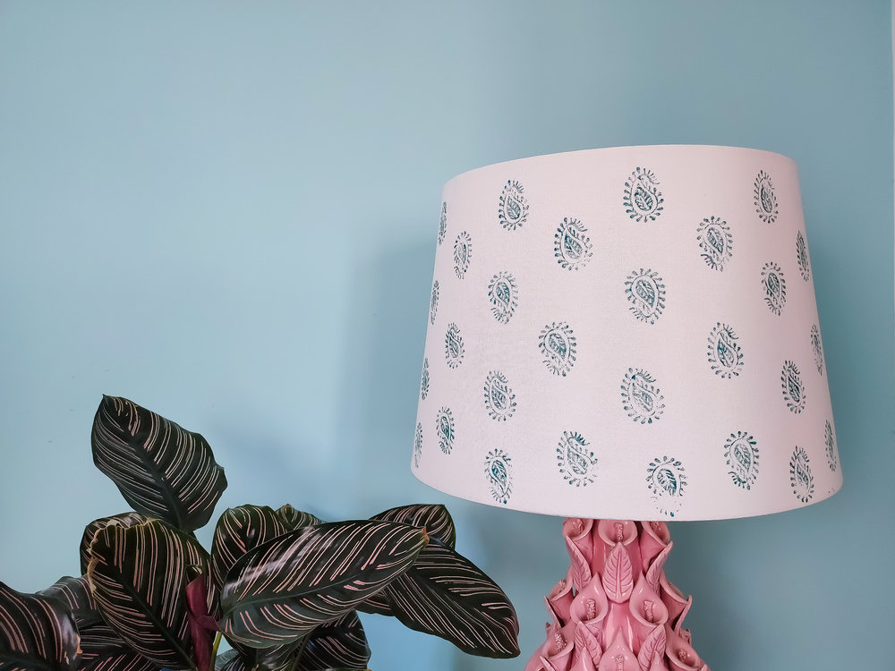 Lamp shade makeover with paisley design hand stamp